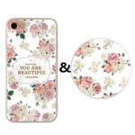 iPhone 6/6S Case and Expanding Stand Set,Karri CC Colorful Floral Prints Clear Flexible Soft TPU Cover and Multifunction Grip Pop Mount Socket for iPhone 6&iPhone 6S