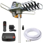 InstallerParts Amplified Outdoor HDTV Antenna — 150 Miles Long Range — Motorized 360 Degree Rotation — Wireless Remote Control