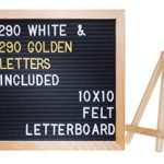 10″x10″ Premium Black Felt Letter Board with 290 White and EXTRA 290 Gold Characters | Include Oakwood Stand | 100% Oak Wood Frame | Free canvas letter bag – by Hippo Creation