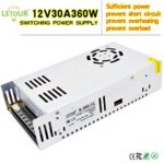 LETOUR 12V 30A DC Power Supply 360W AC 110V/220V Converter DC 12Volt 30Amp 360Watt Adapter LED Power Supply for LED Lighting,LED Strip,CCTV