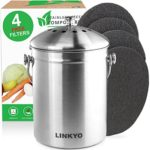 LINKYO Compost Bin – 4 Filters Stainless Steel Kitchen Composter (1 Gallon)