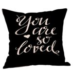 Kimloog Happy Valentine's Day Letters Throw Pillow Cases Linen Sofa Car Living Room Decoration Cushion Cover For Lovers (B)