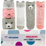 Baby Girl Knee High Toddler Socks 8-24 Months Anti Slip Non Skid Leg Warmer Best Gift for 1 Year Old Girl From Tiny Captain (Small, Pink)