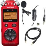 Tascam DR-05 Portable Handheld Digital Audio Recorder (Red) with Deluxe accessory bundle