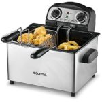 Gourmia GDF475 Compact Electric Deep Fryer 3 Baskets Dual Thermostat & Timer Dials Stainless Steel Food Capacity Anti-Grease Fry Filter with Free E-Recipe Book – 110/120V
