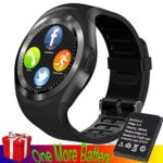 GBD Bluetooth Smartwatch with SIM TF Card Slot Pedometer Sleep Monitor Touch Bracelet Women Lady Men Valentine's Day Boyfriend Girlfriend Gifts Compatible for IOS Android Smart Phones (Cool Black)