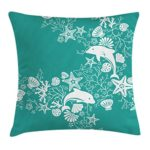 Sea Animals Throw Pillow Cushion Cover by Ambesonne, Dolphins Flowers Sea Life Floral Pattern Starfish Coral Seashell Wallpaper, Decorative Square Accent Pillow Case, 26 X 26 Inches, Sea Green White