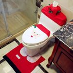 2017 Christmas Decorations Happy Santa Toilet Seat Cover and Rug Bathroom Set Seat Cover Best Funny Vintage Accessories Party Supplies