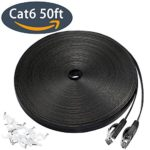Cat 6 Ethernet Cable 50 ft, Flat Wire Rj45 High Speed Internet Network Cable Slim with Clips, Faster than Cat5e/Cat5 with Snagless Connectors for PS4, Xbox one, Switch Boxes, Modem, Router-Black(15M)