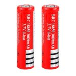 RedEarth 2pcs 18650 3000mAh 3.7V Lithium Li-ion Flat Top High Drain Dynamic Rechargeable Battery for Cree Headlamp Head Torch Flashlight Power Bank (Pair)