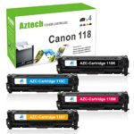 Aztech 4 Pack Compatible for Canon 118 Cartridge 118 Toner Replacement for Canon Color Imageclass MF8350CDN MF726CDW MF8380CD MF8580CDW Toner Printer – (Black, Cyan, Magenta, Yellow)