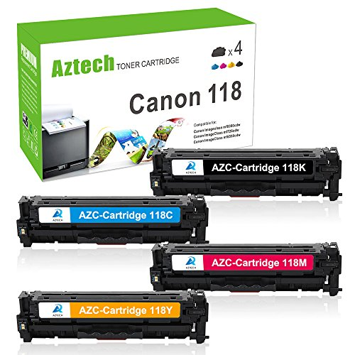 Aztech 4 Pack Compatible for Canon 118 Cartridge 118 Toner Replacement for Canon Color Imageclass MF8350CDN MF726CDW MF8380CD MF8580CDW Toner Printer - (Black, Cyan, Magenta, Yellow)