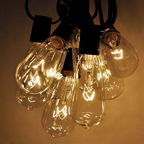 Vintage Outdoor Patio Deck String Lights (25 Foot, ST40 Clear Bulbs - Black Wire)