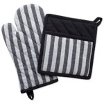 DII 100% Cotton Jacquard Quilted Pot Holder(8×8.5″) and Oven Mitt(6.5×12″) Set, Black and White Geometric design, Heat Resistant and Machine washable for Every Home Kitchen-Stripe