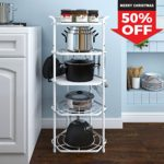 Lifewit Pan Pot Organizer Rack Cookware Stand with 6 Hooks, 5 Tiers Kitchen Storage Rack Corner Shelf, Carbon Steel White
