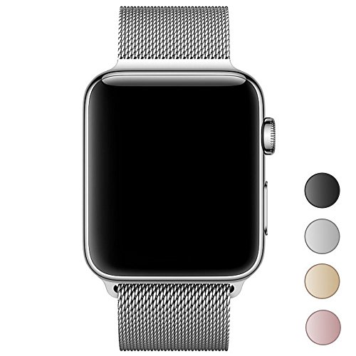 Apple Watch Band 38mm , Smooth Stainless Steel Strap Freely Fully Magnetic Closure Clasp Metal Strap Wrist Band Replacement Bracelet for IWatch Band Series 3 Series 2 Series 1 (Silver)