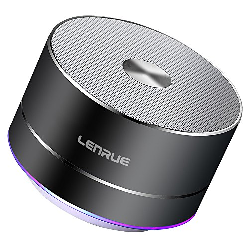 Lenrue Portable Bluetooth Speaker-A2-E Wireless Mini Outdoor Rechargeable Speakers with LED, Stereo Sound, Enhanced Bass,Built-in Mic for IPhone/IPad//Andriod/Sansung/Tablet Grey