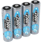 ANSMANN maxE Rechargeable AA Batteries 2500mAh Low Self Discharge (LSD) NiMH AA Battery pre-charged for remote, controller, flashlight etc. (4-Pack)