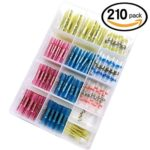 210pcs Solder Seal Butt Connectors & Heat Shrink Wire Terminals, Sopoby Electrical Crimp Waterproof Assorted Wire Terminal Kit, 26-10GA