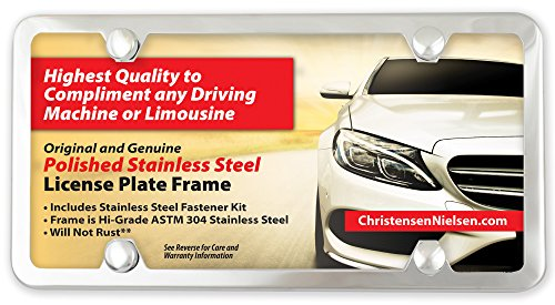 Christensen and Nielsen 4 Hole Polished Stainless Steel License Plate Frame with Super Universal Screws and Hardware Kit For Any Vehicle