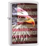 Zippo Lighters 28652 Eagle Flag Brushed Chrome Wind-Resistant Lighting and An Unconditional Lifetime Guarantee