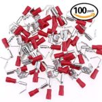 Glarks 100pcs 22-16 Gauge Semi Insulated Piggy Back Spade Electrical Insulated Quick Splice Crimp Terminals Connectors