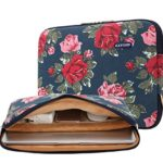 kayond Canvas Water-resistant 17-17.3 Inch laptop Sleeve for Notebook Computer/Apple MacBook Pro/Asus/Dell/Lenovo/HP (17 inches, Blue Peony)