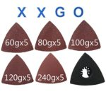 XXGO 26 Pcs Triangle Hook & Loop 3-1/8 Inch 60 / 80 / 100 / 120 / 240 Grits Oscillating Multi Tool Grits Abrasive Sandpaper and Triangular Sanding Pads Sets