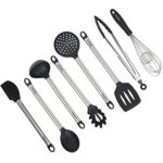 8 Piece Kitchen Utensil Set – Stainless Steel Metal and Black Silicone Serving Utensils Including Tongs Spoons Spatula Ladle Whisk and Frosting Spatula Professional Nonstick Safe Modern Cooking Tools