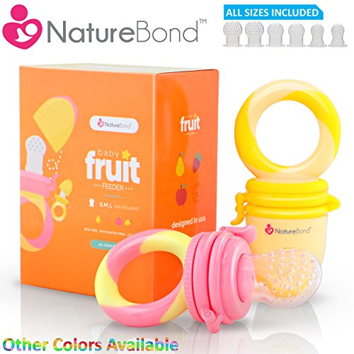 NatureBond Baby Food Feeder / Fruit Feeder Pacifier (2 PCs) – Infant Teething Toy Teether in Appetite Stimulating Colors | Includes 6 PCs All Sizes Silicone Sacs