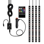 Car LED Strip Light 4pcs 72 LED Underdash Lighting Kits DC 12V LED Interior Lights with Sound Active Function and Wireless Remote Control, Car Charger Included