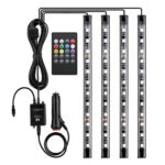 LE 4pcs 48 LEDs Car Strip Lights, RGB Multicolor Music Waterproof Automobile Underbody Interior Decoration Light Bars 12V DC Sound Sensor Function Wireless Remote Control Car Charger Included