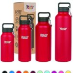 Healthy Human Stainless Steel Insulated Travel Sports Water Bottle Thermos – Leak Proof – No Sweating, Keeps Your Drink Hot & Cold – Red Hot – 21 oz
