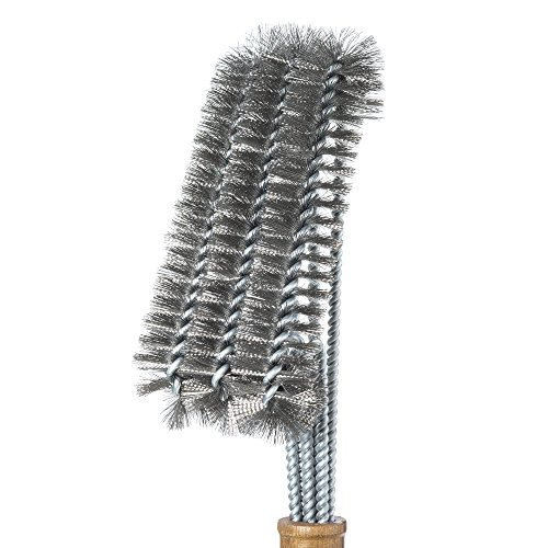 Barbecue Grill Brush – Cleans All Angles, Extended, Large Wooden Handle and Stainless Steel Bristles – No Scratch Cleaning for Any Grill: Char Broil & Ceramic – BBQ-Aid