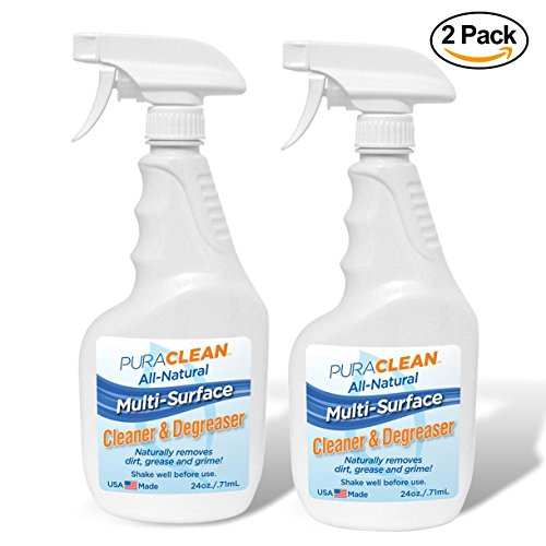 Pura Naturals Multi Surface Cleaner & Bio Degreaser Spray. Half Liquid, Half Grime Fighting Super Cleaner (Shake to Mix) All Purpose Cleaner for ANY Household Surface. 24 oz. (2 Pack)