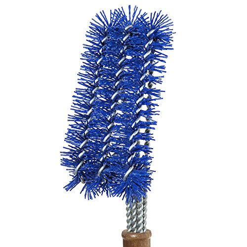 Barbecue Grill Brush with Blue Nylon Bristles – Cleans All Angles, Large Wooden Handle – No Scratch Cleaning for Any Grill: Char Broil & Ceramic – BBQ-Aid