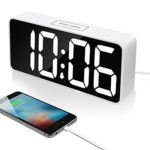 9″ Large LED Digital Alarm Clock with USB Port for Phone Charger, Touch-Activited Snooze and Dimmer, Outlet Powered And Battery Backup(White)