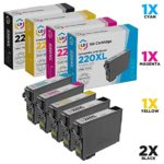 LD Remanufactured Epson 220 / 220XL Set of 5 HY Ink Cartridges (2 Black 1 Cyan 1 Magenta 1 Yellow) for Expression XP-320, XP-420, XP-424 & WorkForce WF-2630, WF-2650, WF-2660, WF-2750, WF-2760