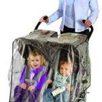 Nuby Twin Stroller Rain Cover, Tandem Stroller Rain Cover, Baby Rain Cover, Double Stroller Accessories, Tandem Stroller Weather Shield, Universal Size, Waterproof, Windproof, Clear Vinyl Plastic