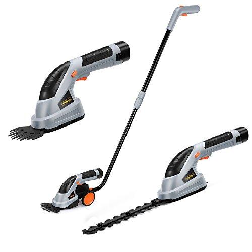 VonHaus 2 in 1 Cordless Grass Shears Hedge Trimmer Handheld Wheeled Extension Handle