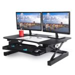 ApexDesk EDR-3612-BLACK  ZT Series Height Adjustable Sit to Stand Electric Desk Converter, 2-Tier Design with Large 36×24″ Upper Work Surface and Lower Keyboard Tray Deck (Electric Riser, Black)