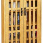Leslie Dame M-371 High-Capacity Inlaid Glass Mission Style Multimedia Storage Cabinet, Oak