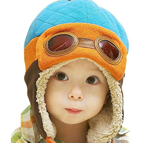Fullkang Baby Boys Earflap Hat, Winter Warm Pilot Aviator Crochet Caps (Blue)