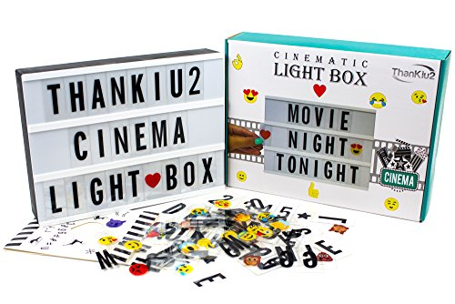 Cinema Light Box By ThanKiu2: Vintage Cinematic Light Up Message And Note Sign With 192 Letters, Numbers, Symbols & Emojis – Personalized A4 White LED Lightbox With Extra Long Durable USB Cable