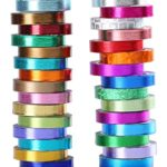 30 Rolls Washi Tape,Multi-Colored & Gold Metallic Washi Masking Tape – 8mm x 4m Rainbow Paper Tape for DIY Crafts (mix)