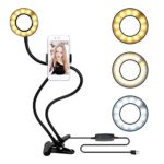 Guduo Table Desk Lamp with Usb Selfie Led Ring Light in Different Colors Flexible Metal Stand for Iphone 4s/5/5s/6/6s/7/7s/8 Mobile Phone Picture Video Clip Holder (Black)