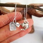 EWT stainless steel tea earrings/ Tea time kettle cup dangle drop earrings/ Tea lover gift jewelry