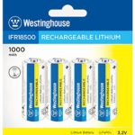 Westinghouse Battery IFR 18500 3.2v 1000 mAh Lithium Iron Phosphate LiFePO4 Solar Rechargeable Batteries Outdoor Garden Light Pack of 4