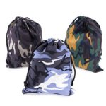Camouflage Drawstring Travel Bags Pouch Sacks for Party Favors, Outdoor Camping Picnics, Hiking (12 Pack)