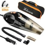 Car Vacuum Cleaner, Hikeren DC 12-Volt 106W Wet&Dry Handheld Auto Vacuum Cleaner,16.4FT(5M)Power Cord with 2 HEPA Filters,One Carry Bag (Black)Upgraded Version